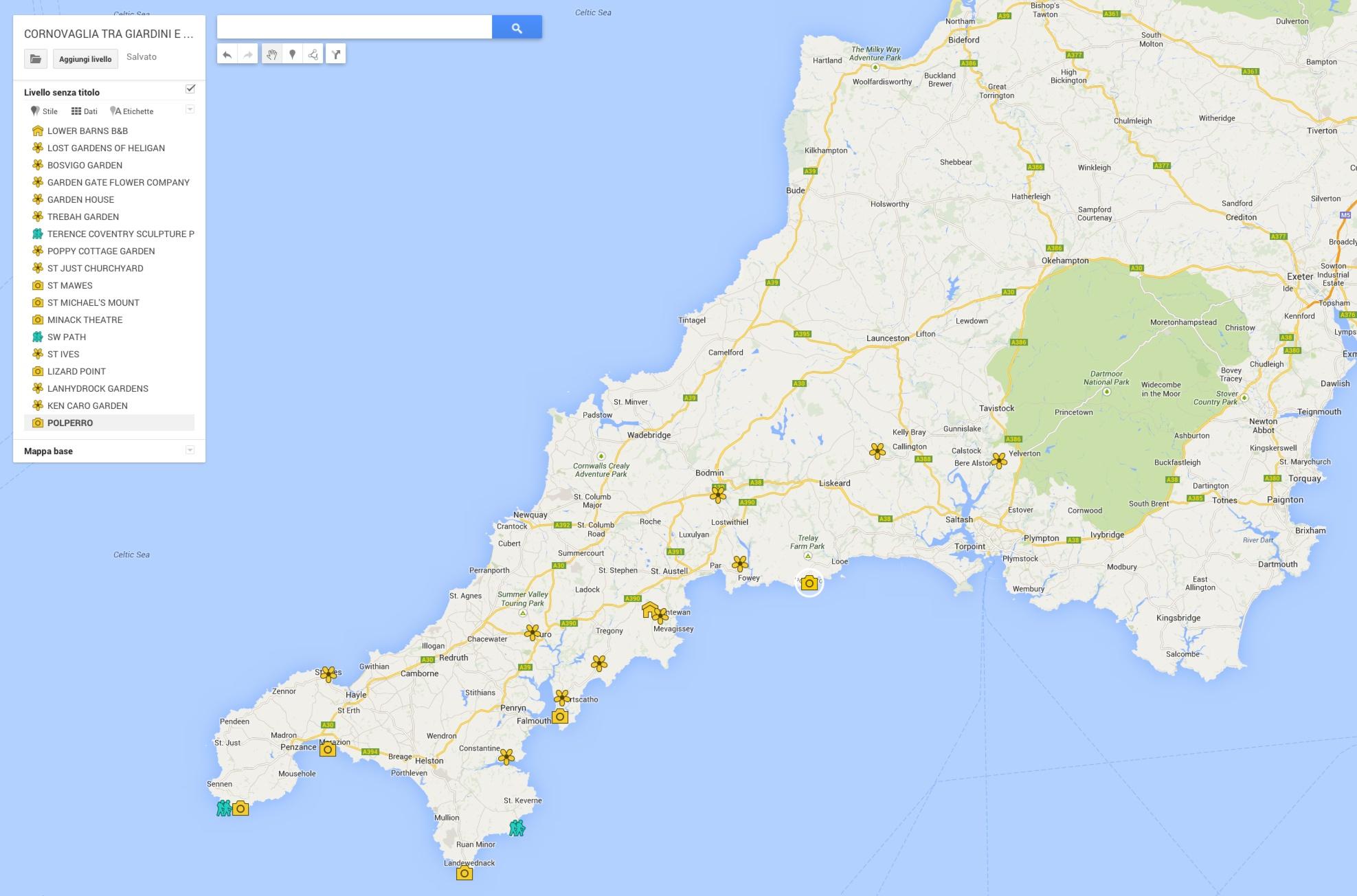 Cartina Cornovaglia.Mappa Cornovaglia Viaggi Floreali